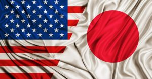 تصویر پرچم آمریکا و ژاپن