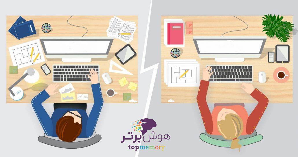 میز مرتب برای مطالعه